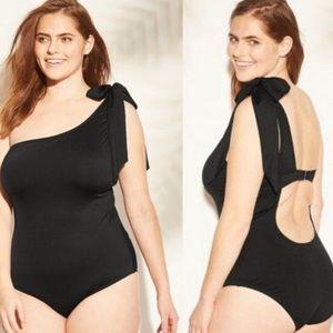 KONA SOL Black 1 Piece Bow Shoulder Plus Swimsuit